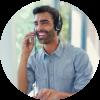 Customer service agent making call